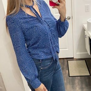 Lulus blue and white polka dots blouse size XS